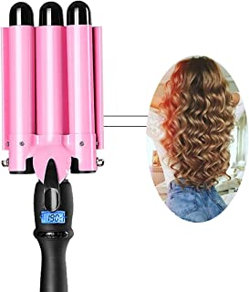3 Barrel Curling Iron 1 Inch Waver Hair Curler Wand Ceramic Curling Wand Fast Heating with LCD...
