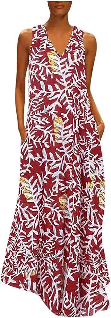Lovor Women Plus Size Printe Summer Sleeveless Tank Long Maxi Dresses Casual Loose Boho Dress