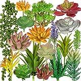 LA.PONEE Artificial Succulents 18pcs Picks Fake Succulents - Realistic Faux Mini Succulent Plants for Terrarium Greenery Outdoor and Indoor Arrangements - Faux Succulent Flower Arrangement