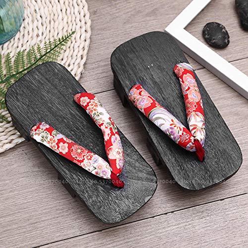 OHHCO Sandalias Mujer Japonesa Tradicional Geta Zuecos Hombre Anime Cosplay Warrior Zapatos de Madera Chanclas Kimono Sandalias Color10_42 (Color: Color11, Tamaño: 40)