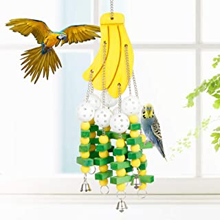 Newdanceus Large Parrot Toys Bird Chewing Toys | Fit for Large Medium Parrot Cage Bite Toys African Grey Macaws Cockatoos | Non-Toxic - Easy to Install