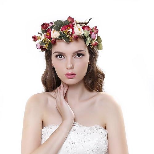 Ever Fairy® Flower Crown Headband with Adjustable Ribbon for Women Girls  Hair Accessories 4a8c7da4f5b