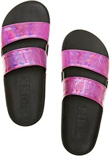 Victorias Secret Pink Double Strap Slides Metallic Pink- Medium (7-8)