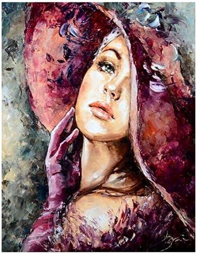 en promociones de estadios Qwerlp Diy Pintura Al óleo By Números Hermosa mujer mujer mujer Lienzo Imagen Para Colorar Pintura Por Número Pincel Dibujo Figura Pintada A Mano Artesanía-60X120Cm,Frameless  ¡envío gratis!