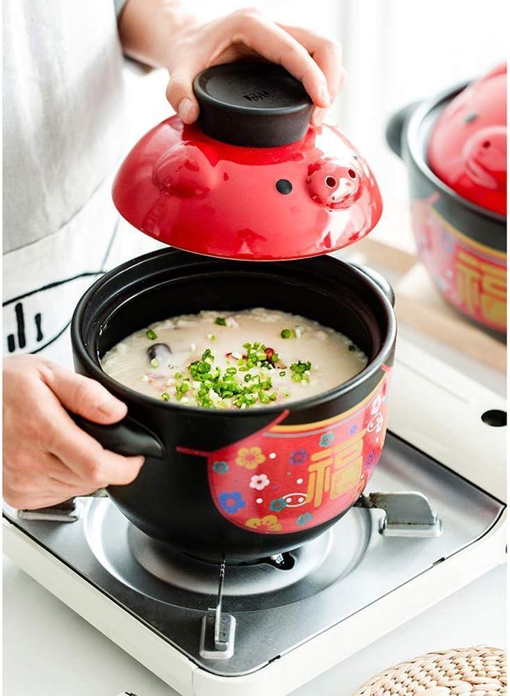 Chinois de porc en céramique Cocotte pot d'argile Cocotte soupe Hot Pot gaz Grip maison Oreille Marmite Noir 3,8 quarts 1yess (Color : 1.58quart) 2.1quart