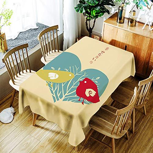 XXDD 3D grüne Pflanzen Bananenblatt Muster Tischdecke Cartoon Vogel Digitaldruck wasserdichte Tischdecke Abdeckung A10 135x160cm