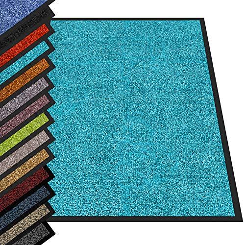 etm® Schmutzfangmatte - Fußmatte in vielen Größen - Türmatte Fußabstreifer für Haustür innen und außen (Türkis, 90x120 cm)