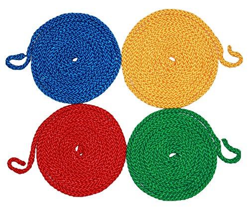 Boje Sport Springseile, 4er Set, 2,80 m, Ø 8 mm, rot, gelb, grün, blau - Universalseil Sprungseil Hüpfseil Seilspringen Springschnur Rope Skipping Gymnastikseil