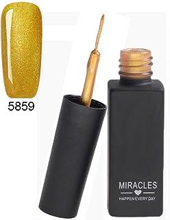 Frenshion 8ML Classic DIY 3D Gel Nail Designs Painted Gel Nail Polish, Painting Drawing UV Led Gel Liner Polish Pen Tool,Pull Line Pen for Nail Art Salon Gold 59