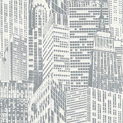 Vliestapete Moderne Tapeten Schöne Tapeten Tapeten-Trends Tapeten Wohnzimmer 252852 25285-2 A.S. Création Day & Night glow in the dark | Grau Weiß | Muster (21 x 29,7 cm)