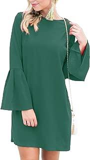 Women's Bell Sleeve Shift Dress Ruffle Tunic Dress Round Neck Short Mini Dresses