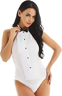 Women's Tuxedo One Piece Halter Top Sleeveless Shirt Bodysuit with Bow Tie Set