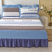 Pure Cotton Bed Skirt,Quilted All Cotton Bedspread Mattress Cover Non-Slip Mattress Protective Case Bed Sheet Dust-Proof R...