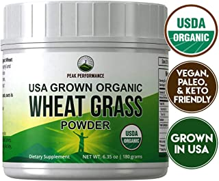 Organic Wheatgrass Powder by Peak Performance. Organic Wheat Grass Juice Powder Vegan Superfood Supplement Rich in Fiber, Antioxidants and Chlorophyll. USA Grown, Non Irradiated, Non GMO, Gluten Free