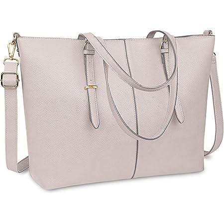 Laptop Damen Handtasche 15,6 Zoll Shopper Handtasche Elegant Leder Taschen Große Leichte Elegant Stilvolle Frauen Handtasche für Business/Schule/Einkauf (Cremeweiß)