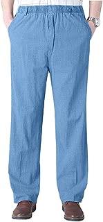 Mens Seniors Solid Loose Fit Elastic Casual Pants