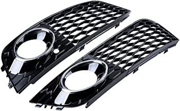 LH RH Chrome Ring Front Honeycomb Lower Bumper Grille Fog Light Hole Compatible with 08-12 Audi A4 B8