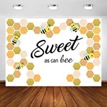 COMOPHOTO Sweet as Can Bee Backdrop for Photography 7x5ft Bee-Day Honeycomb Baby Shower Photo Background Bumble Bee Birthday Party Decoration Banner