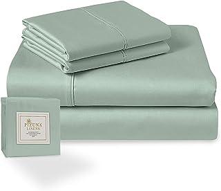 Pizuna 400 Thread Count Cotton Sage Green 4 Piece Bed Sheet Set California King, 100% Long Staple Cotton Soft Satin Sheet ...
