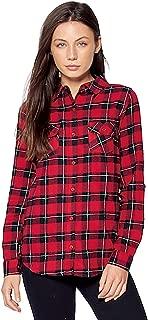 Womens Casual Plaid Flannel Long Sleeve Shirts