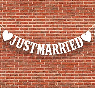 Pure White Just Married Banner Sign - Wedding Car Decorations,God Holy White Wedding Bridal Shower/Bachelorette/Engagement Party Decorations.