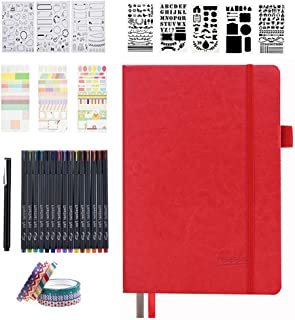 Dotted Journal Set, 224 Numbered Pages Faux Leather A5 Grid Hard Cover Red Notebook Planner with Index Inner Pocket, Abundant Accessories for Beginners Diary Schedule by Feela