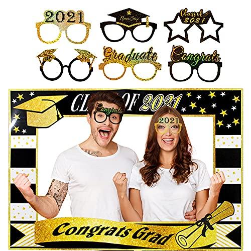 Dsaren 7 Piezas Photo Booth Props 2021 Cabina de Fotos Gafas Photocall Divertido para Regalo Graduación Decoraciones Fiesta Brillo Dorado