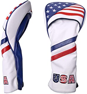PLUSKER Golf Club USA Hybrid/Fairway Wood/Driver/Blade Putter/Mallet Putter Head Cover American Flag Stars and Stripes Syn...