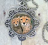 Cats, I Love Cheetahs, Lovely Image Necklace. Also Available in a Backpack Clip Key Ring, a Key Chain or Purse Clip. Great Animal Lover Gift.