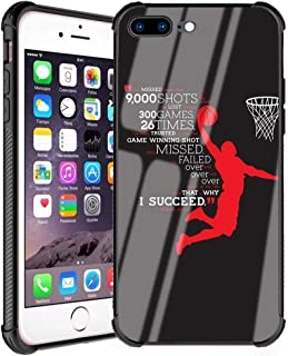 iPhone 7 Plus Case,iPhone 8 Plus Case for Boys Men Slim Fit Tempered Glass Back Cover and Shockproof Silicone Bumper Protective Case for Apple iPhone 7 Plus/iPhone 8 Plus 5.5 inch - Basketball