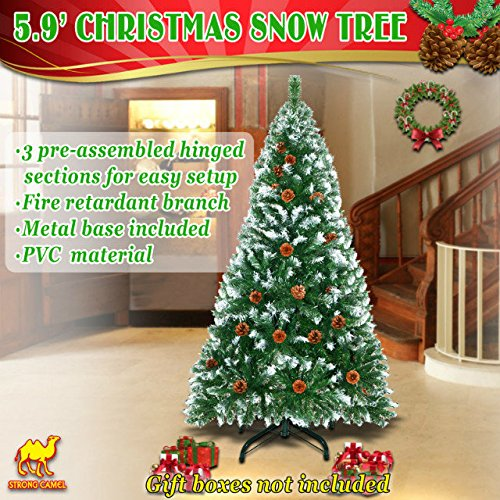 Strong Camel 6' Green Snow Tipped Christmas Tree with 31 pinecones Artificial Realistic Natural Branches -Unlit 180CM 750 Tips With Steel Stand