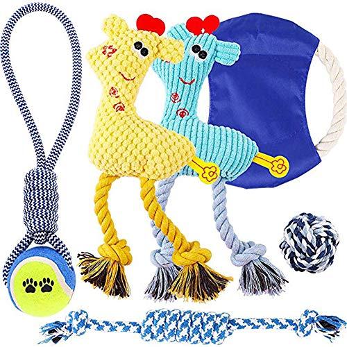 LLQ Hundespielzeug seilKauspielzeug zum Zahnen von Haustieren, Interaktives Multifunktionsspielzeug zum Nähen von Hunden mit Kugelseilen, 6-TLG