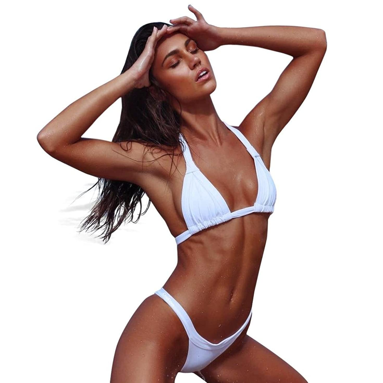Hot Sale!!!Women's Swimwear,Jushye Sexy Solid Halter Two Pieces Bikini Set Push-Up Padded Swimsuit Bathing Beachwear (White, L)