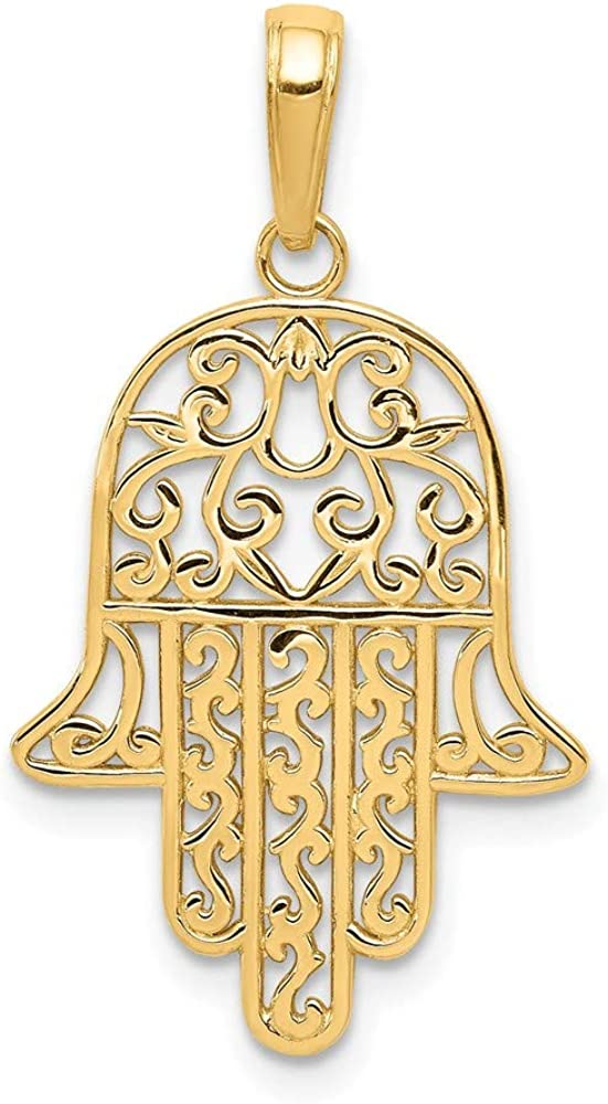 14k Yellow Gold Filigree Chamseh Pendant Charm Necklace Religious Judaica Fine Jewelry For Women Gifts For Her