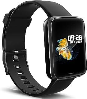 Lintelek Montre Connectée Intelligente, Pression Artérielle Cardio Fréquence Smartwatch Bracelet Connecté Ecran Couleur Mo...