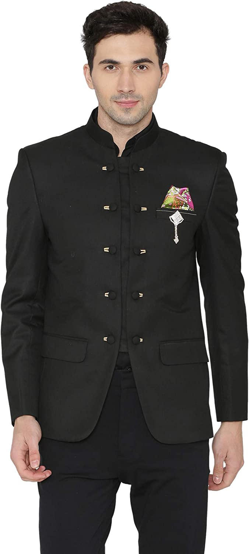 WINTAGE Men's Polyester Cotton Casual and Festive Indian Jodhpuri Grandad Bandhgala Blazer : Black
