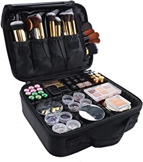 GZCZ Makeup Case Travel Cosmetic Bag 10.4 inches Professional Cosmetic Brush Organizer Bag with Adjustable Divider Storage Case for Girl and Women(S-Black)