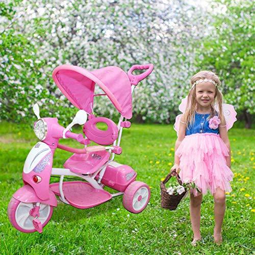 REPLOOD Triciclo Vespina per Bimbo Bambini con Cappottina e Maniglia Direzionabile con Luci e Suoni (Rosa)