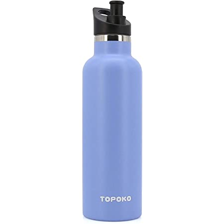 TOPOKO 25 OZ Hydro Double Wall Flask Stainless Steel Water Bottle, Bite Valve Top, Vacuum Insulated, Sweat Proof, Leak Proof Sports Thermos. Standard Mouth 25oz, BPA-Free, Keep Cold 24 Hours (Skyblue)