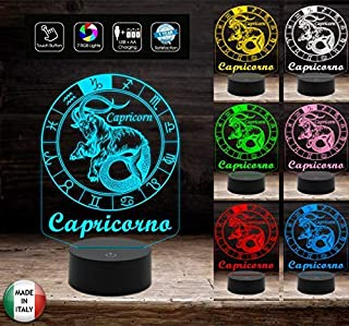 Segno zodiacale CAPRICORNO Lampada led 7 colori selezionabili a batterie o cavo usb Da scrivania Idea regalo compleanno Na...
