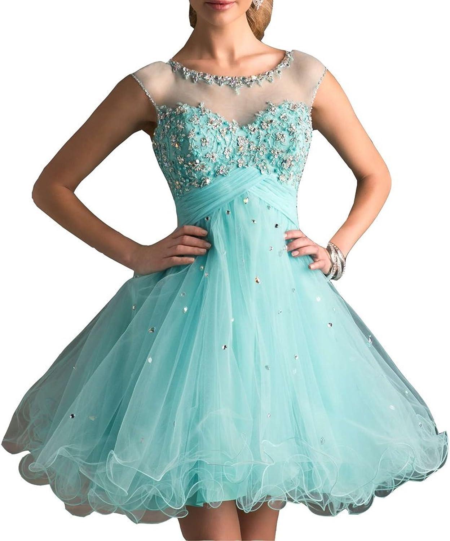 Irenwedding Women's Jewel Cap Sleeves Crystals Keyhole Back Mini Homecoming Dress