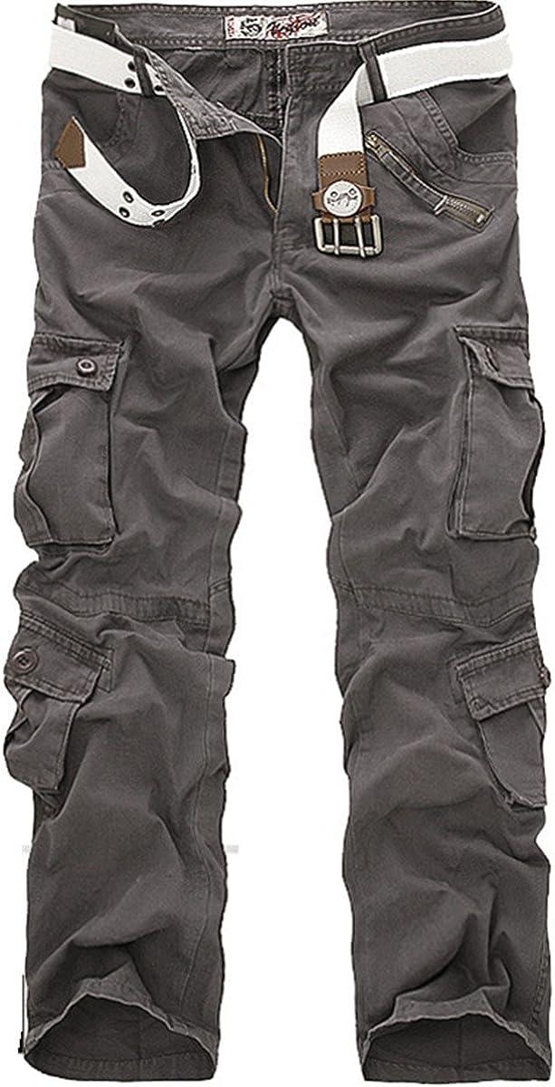 Congs Men's Cotton Cargo Loose Camo Work Causal Pants