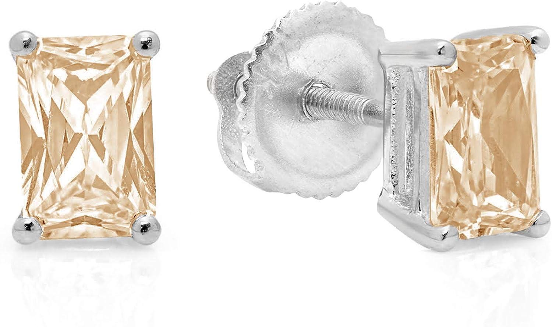 Clara Pucci 1.0 ct Brilliant Emerald Cut Solitaire VVS1 Flawless Natural Brown Morganite Gemstone Pair of Stud Earrings Solid 18K White Gold Screw Back