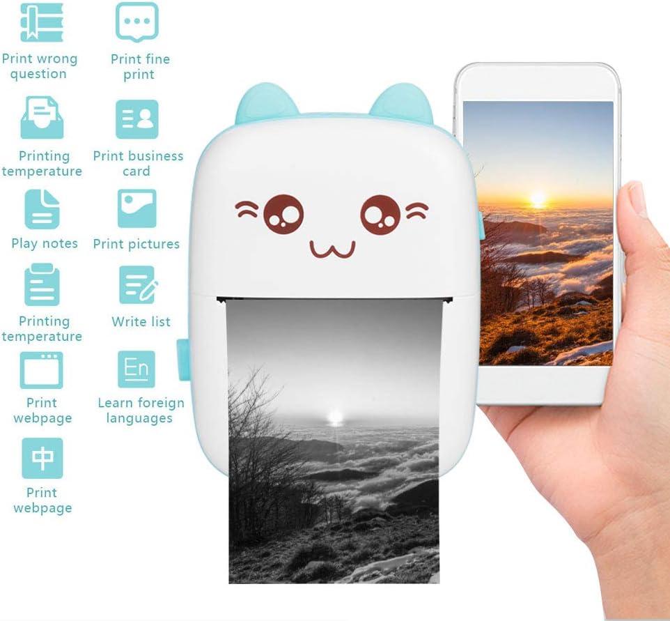 Bleu imprimante thermique 200 dpi compatible pour la photo le travail Imprimante de poche le plaisir les notes le journal l/étude mini imprimante mobile sans fil Bluetooth