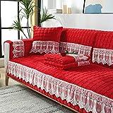 YUTJK Salón de sofá,Fundas de Asiento de sofá de Tela para Sala de Estar,Funda Protectora de Muebles,Cojín de sofá de Terciopelo a Cuadros con Encaje,para salón,Rojo