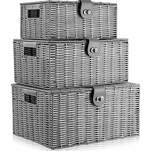 Conjunto de 3 Caja de Canasta de Almacenamiento Tejido de Resina con Tapa y Cerradura Gris, Grande, Mediano, pequeño