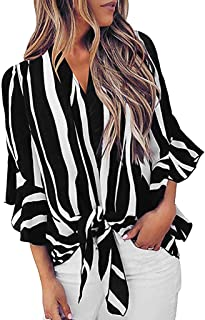 Women's Striped 3/4 Bell Long Sleeve Off The Shoulder Front Tie Knot T Shirt Tops Blouse by SADUORHAPPY