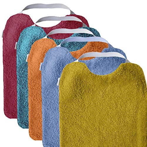Imagen para Mimuselina Pack 5 Baberos | Pack Bright Ideal para Guardería, Interior Impermeable, Goma en Cuello para Fomentar Autonomía e Independencia, de Rizo, 31 x 25 cm