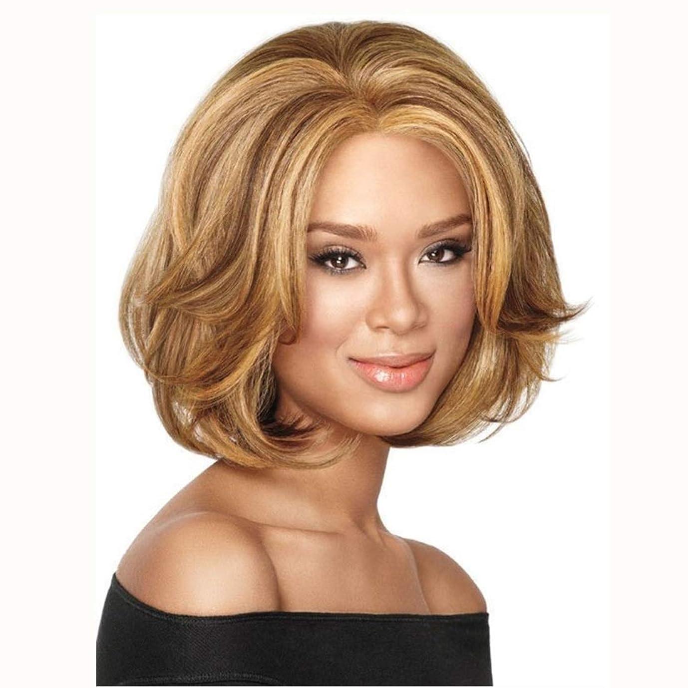 クラック差農村Summerys 短い髪ゴールデン巻き毛ふわふわ短い巻き毛ハイライトウィッグ女性用ヘッドギア
