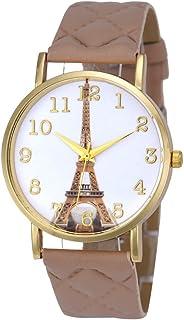 IEason Paris Eiffel Tower Women Faux Leather Analog Quartz Wrist Watch (Beige)
